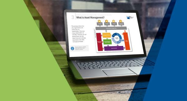 Asset Management eLearning on laptop screen